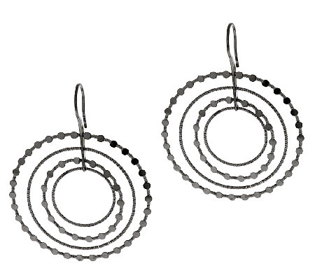 "Vicenza Silver Sterling 2-1/4"" Cascading Diamond Cut Circle Earrings"