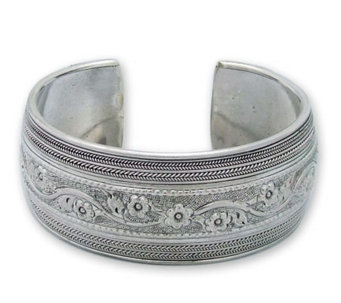 "Novica Artisan Crafted Sterling ""Floral Imagination"" Cuff - J298530"