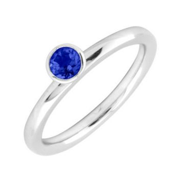 Simply Stacks Sterling 4mm CreatedSapphire Sol.Stackable Ring