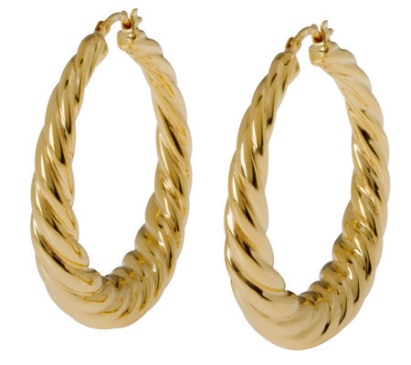 "Veronese 18K Clad 1-1/2"" Graduated Twist Hoop Earrings"