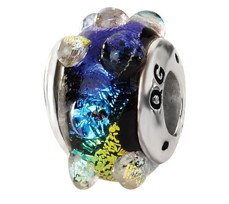 Prerogatives Sterling Rainbow Bubble Dichroic Glass Bead