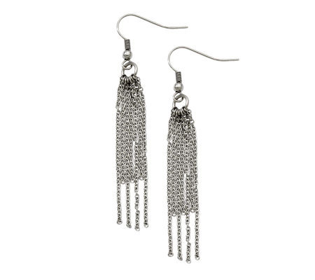 Stainless Steel Long Multi-Strand Dangle Earrings
