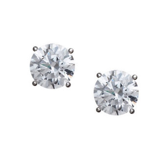 Diamonique 100-Facet Round Stud Earrings, Platinum Clad - J308630