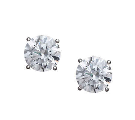 Diamonique 100-Facet Round Stud Earrings, Platinum Clad