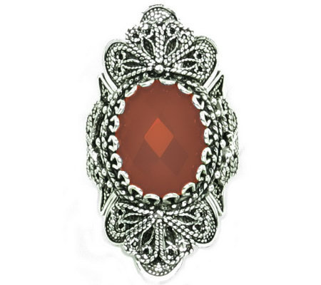 Artisan Crafted Sterling Ornate Design GemstoneRing