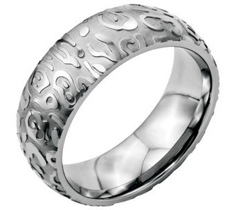 Stainless Steel 8mm Brushed & Polished Textured Ring - J309930