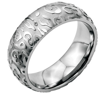 Stainless Steel 8mm Brushed & Polished Textured Ring