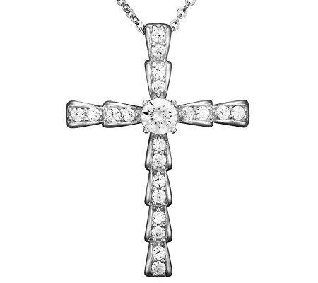 Epiphany Diamonique 3/4 cttw Cross Pendant