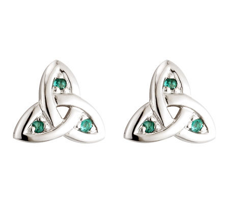 Solvar Emerald Trinity Knot Earrings, 14K WhiteGold