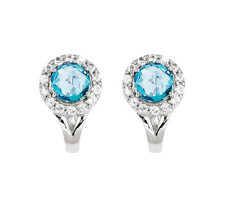 2.35ct tw Blue & White Topaz Sterling Omega Back Earrings