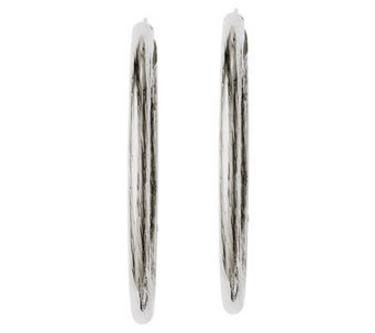 "Stainless Steel 2"" Flat Textured Oval Hoop Earrings - J312230"