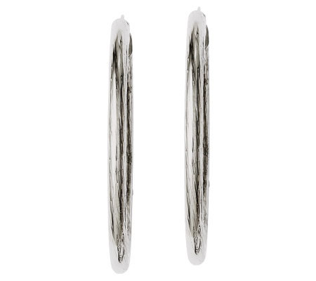 "Stainless Steel 2"" Flat Textured Oval Hoop Earrings"
