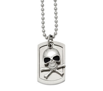 "Forza Men's Stainless Steel Skull Dog Tag Pendant w/ 24"" Chai - J313130"