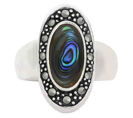 Sterling Marcasite and Abalone Oval Ring