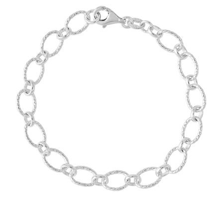 "Sterling 7"" Polished & Textured Oval Link Bracelet"