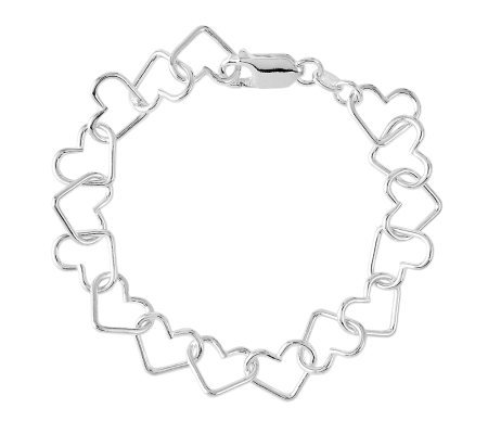 "Sterling 7"" Polished Open Heart Link Bracelet"