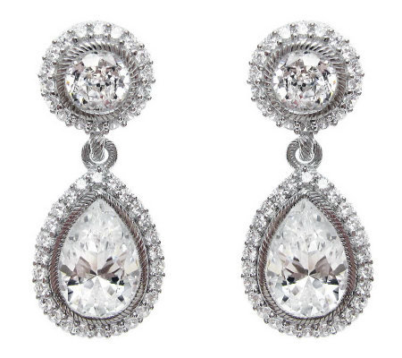 Judith Ripka Sterling Diamonique Pear Halo Earrings