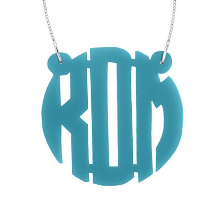"1-1/2"" Acrylic Block Letter Monogram Necklace,Sterling"