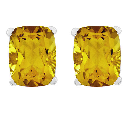 Sterling 7.10cttw Rectangular Cushion-Cut Citrine StudEarring