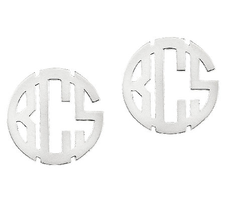 "Sterling Polished 1/2"" Circle Block Monogram Stud Earrings"