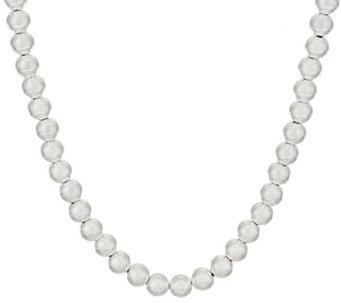 "UltraFine Silver 20"" Polished 8mm Bead Necklace, 24.8g - J317530"
