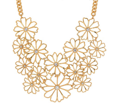 "Joan Rivers Delicate Daisy 18"" Bib Necklace w/ 3"" Extender"