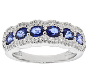 Precious Gemstone & White Zircon Sterling Silver Band Ring - J319130