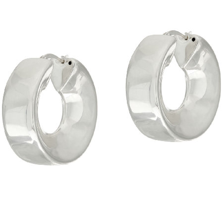 UltraFine Silver Polished Sculpted Round Hoop Earrings