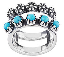 Sterling Silver Gemstone & Flower Double Band Ring by American West - J321030