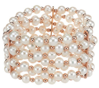 """As Is"" Honora Cultured Pearl 7.0mm Average Bronze Stretch Bracelet - J321830"