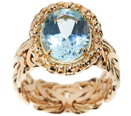 14K Gold Blue Topaz Byzantine Design Ring