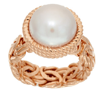 Honora Cultured Pearl 12.0mm Button Byzantine Bronze Ring - J322230