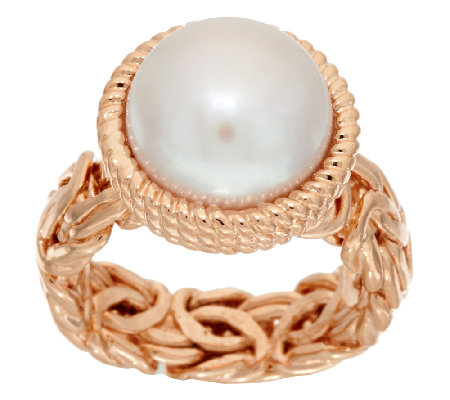 Honora Cultured Pearl 12.0mm Button Byzantine Bronze Ring