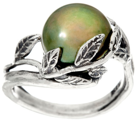 Sterling Silver Cultured Pearl Leaf Overlay Ring by Or Paz