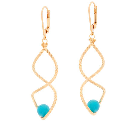 Veronese 18K Clad Turquoise Bead Twist Dangle Earrings