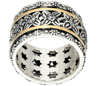 Sterling Silver & 14K Gold Crystal Spinner Ring by Or Paz - J324130