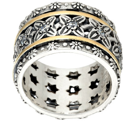 Or Paz Sterling Silver 14K Gold Crystal Spinner Ring