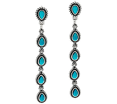 Turquoise Sterling Silver Linear Earrings by American West
