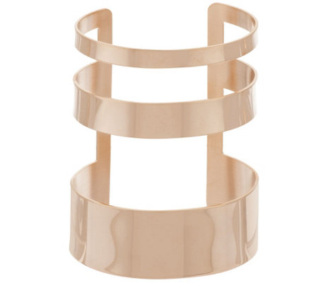 """As Is"" Bronze Bold Polished Multi-Row Cuff Bracelet by Bronzo Italia"