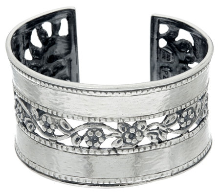 Sterling Silver Hammered & Floral Lace Cuff by Or Paz, 43.0g