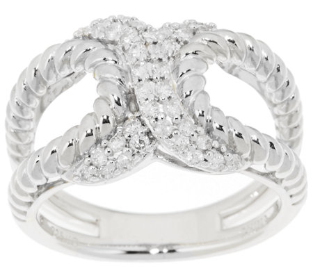 """As Is"" Open Criss Cross Diamond Ring, Sterling 1/3ct by Affinity"