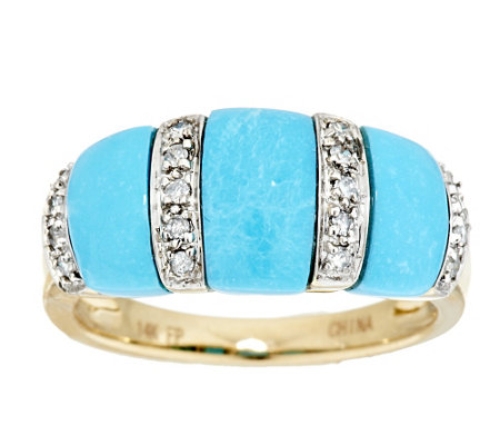 """As Is""Sleeping BeautyTurquoise and 1/10 ct tw Diamond Ring, 14K Gold"