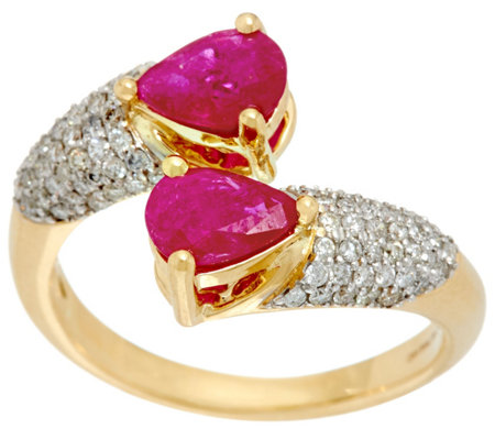 Pear Cut Mozambique Ruby & Pave' Diamond By-Pass Ring, 14K, 1.20 cttw
