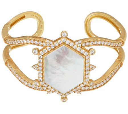 Judith Ripka 14K Clad Mother-of-Pearl Diamonique Cuff Bracelet