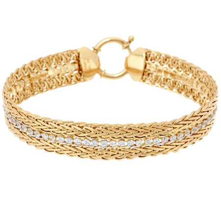 "14K Gold 7-1/4"" Double Wheat and Crystal Bracelet, 7.8g"