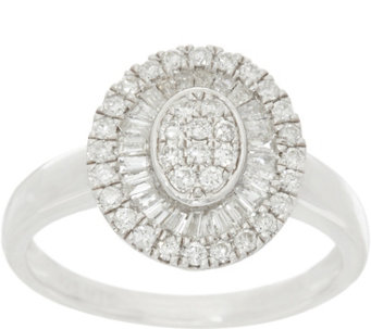 Graziela Gems Sterling Round & Baguette Diamond Ring, 1/2 cttw - J330630