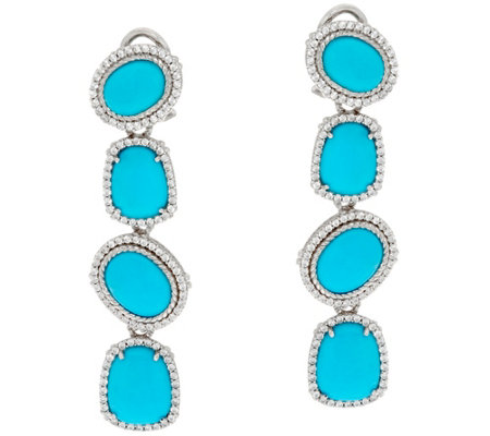 Judith Ripka Sterling Turquoise & Diamonique 1.15 cttw Earrings