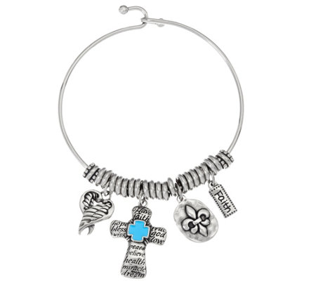 Stainless Steel Faith Charm Bangle