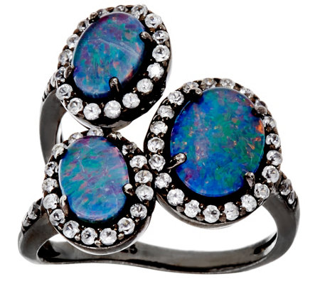 """As Is""Graziela Gems Australian Opal Triplet & Zircon Sterling 3-Stone Ring"
