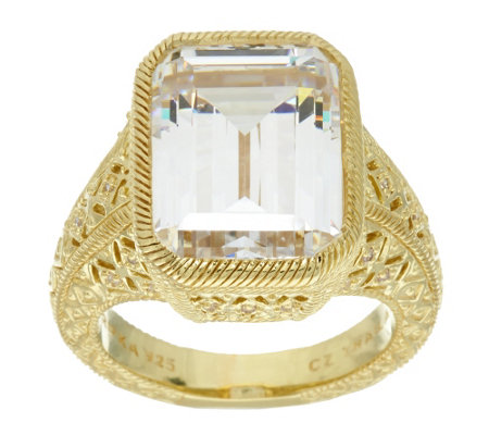 """As Is"" Judith Ripka Sterling & 14K Clad 13.50 cttw Diamonique Ring"